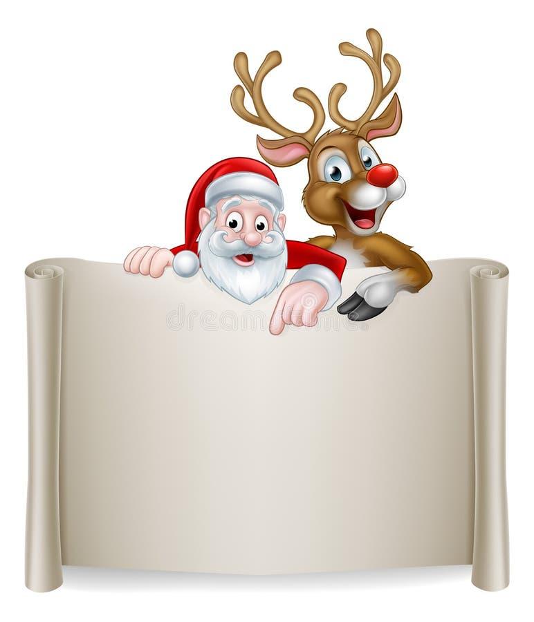 Weihnachten Santa Reindeer Scroll Background lizenzfreie abbildung