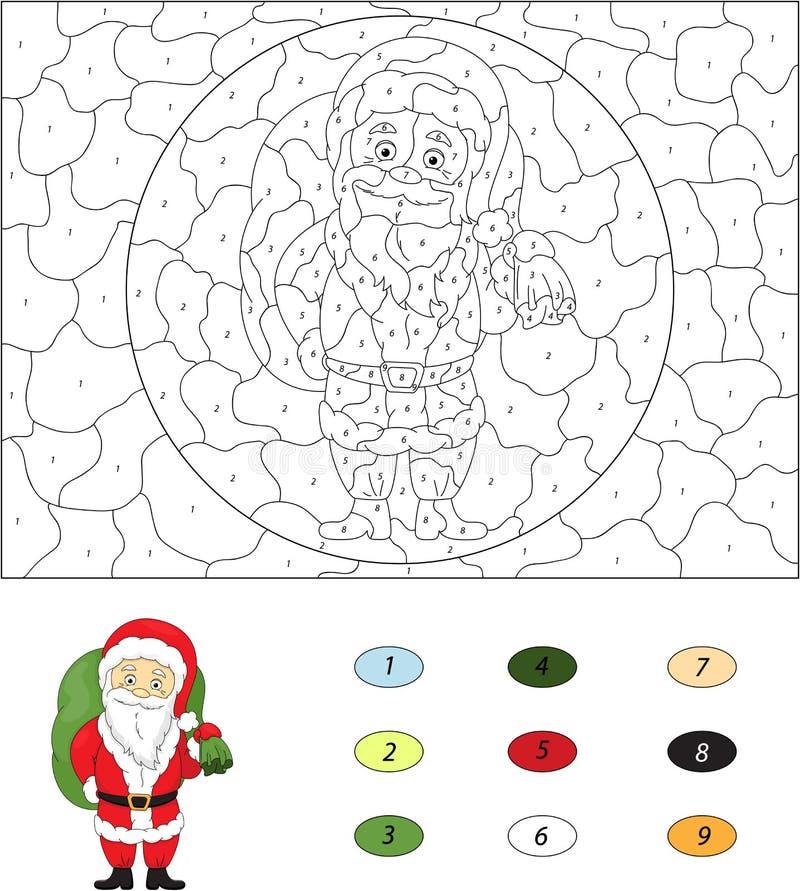 Weihnachten Santa St Nicolas Farbe durch Zahllernspiel f vektor abbildung