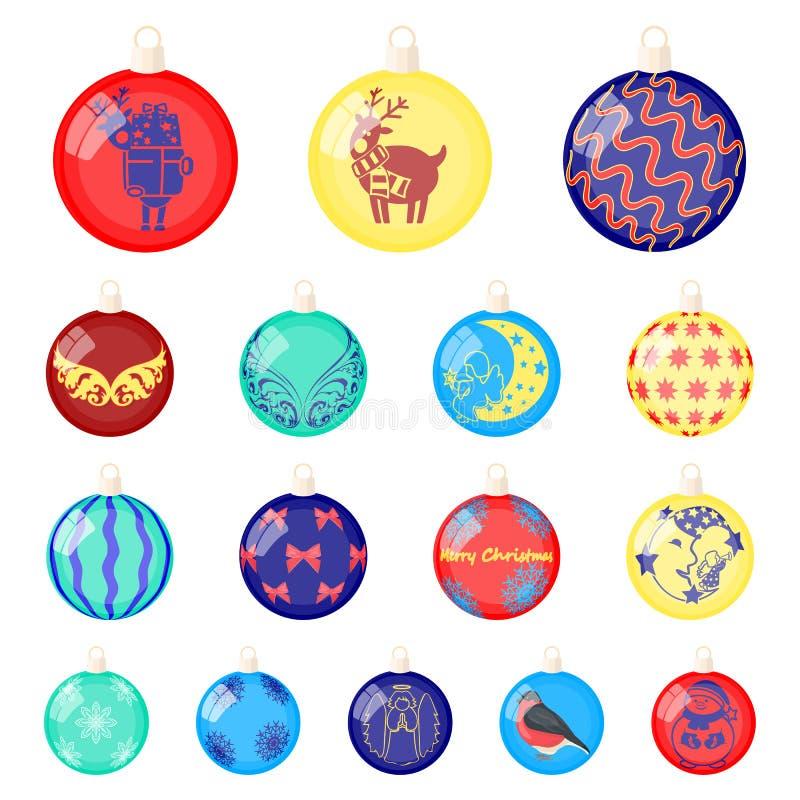 Weihnachten spielt Karikaturikonen in der Satzsammlung für Design Bälle des neuen Jahres vector Netzillustration des Symbols auf  vektor abbildung