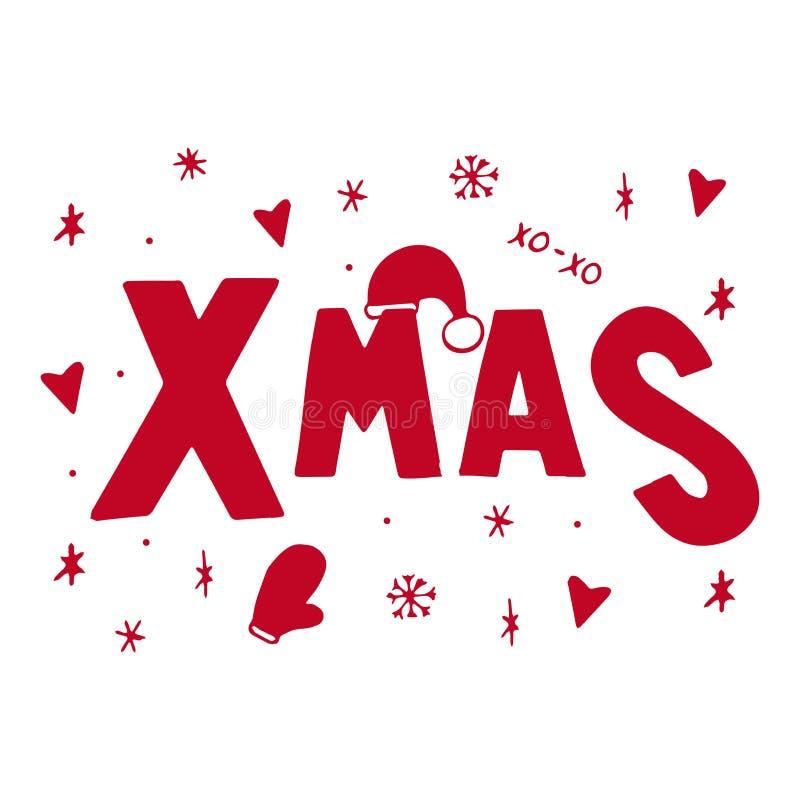 Weihnachten typografisch auf Weihnachtshintergrund mit Winterlandschaft mit Schneeflocken, Hirsch, Sankt-Hut, Hände stock abbildung