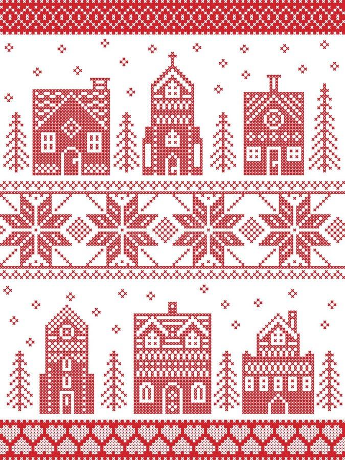 Weihnachten und festliches Winterdorfmuster in der Kreuzstichart mit Lebkuchenhaus, Kirche, wenige Stadtgebäude, Bäume stock abbildung
