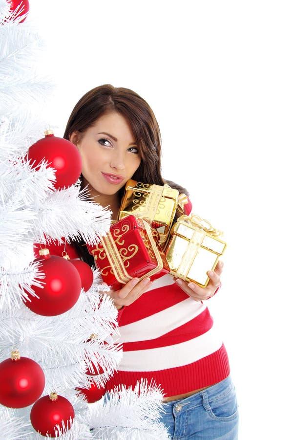 Weihnachten und Frau lizenzfreie stockfotografie
