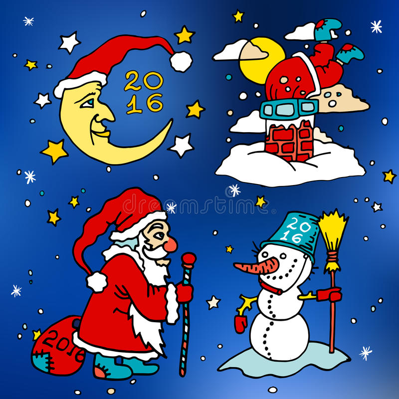 Weihnachten und glückliche neue 2016-jährige Vektorkarikaturikonen stock abbildung