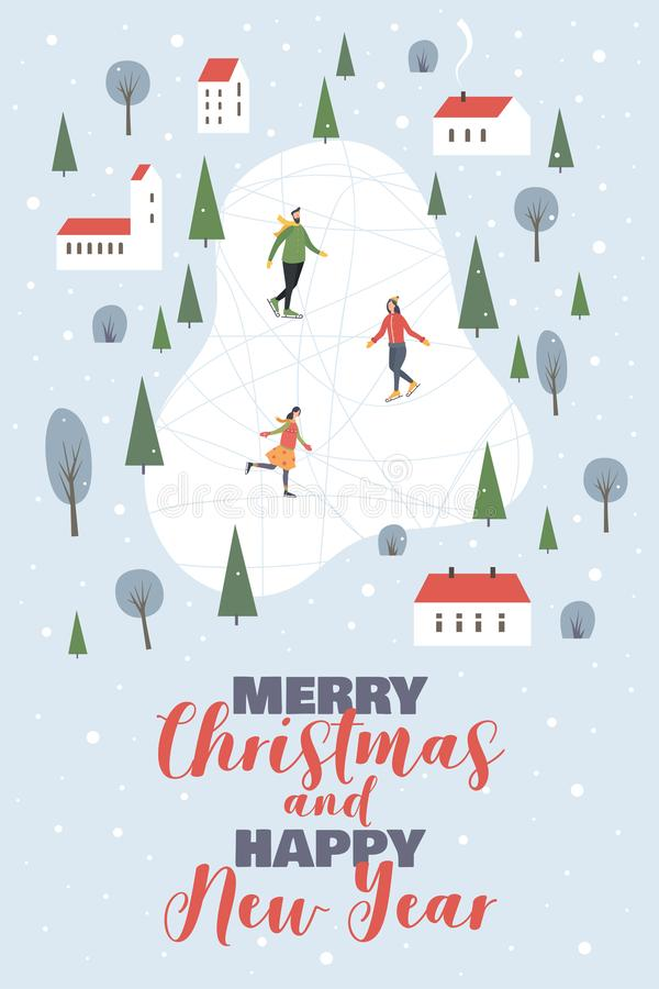 Weihnachten und glückliches neues Jahr Winterstadtbild mit Zahl Schlittschuhläufer, schneebedeckte Häuser und Bäume stock abbildung