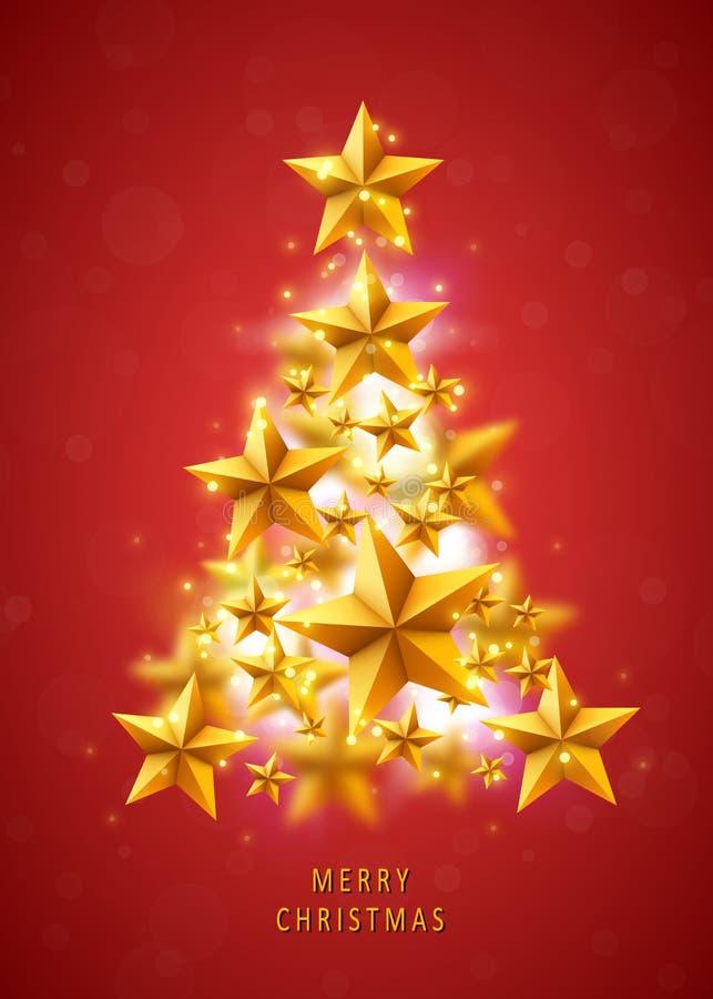 Weihnachten und neue Jahre roter Hintergrund mit dem Weihnachtsbaum gemacht von den goldenen Sternen vektor abbildung