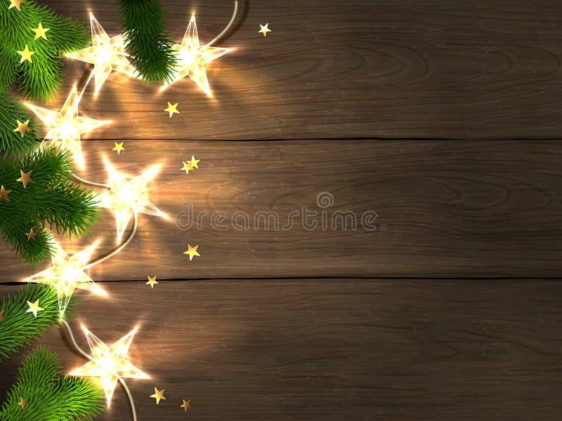 Weihnachten und neues Jahr entwerfen Schablone mit hölzernem Hintergrund, sternförmigen Lichtern, Tannenzweigen und Konfettis vektor abbildung