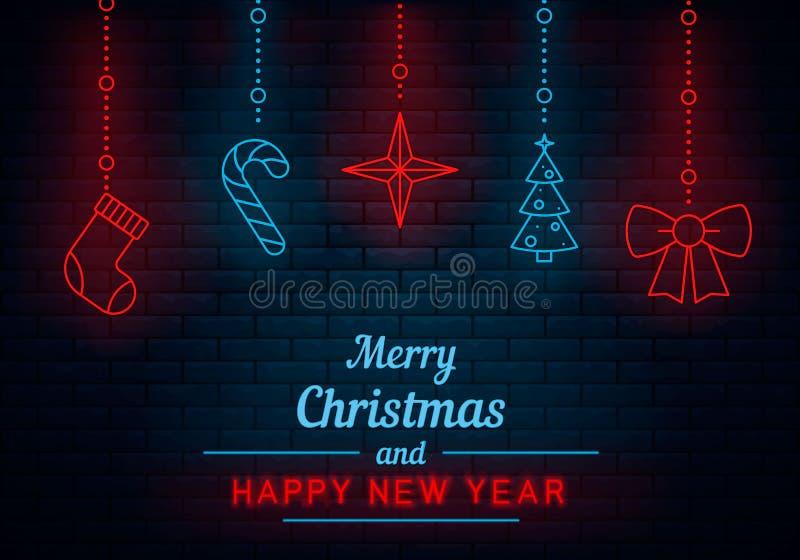 Weihnachten und neues Jahr neon lizenzfreie abbildung