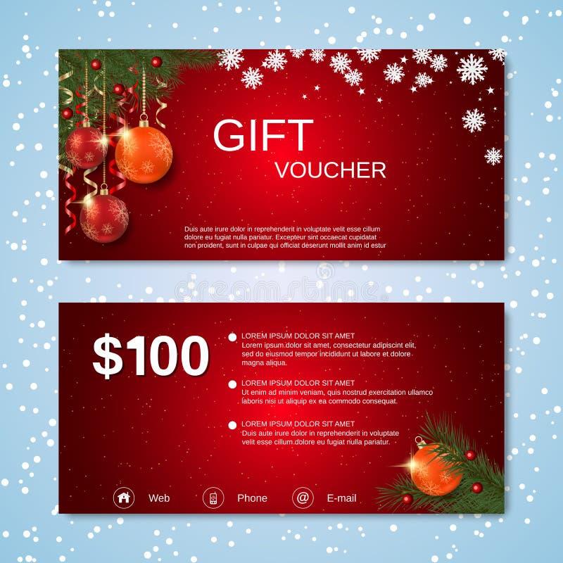 Weihnachten und neues Jahr rechnen Kupon, Geschenkgutscheinvektorschablone ab stock abbildung