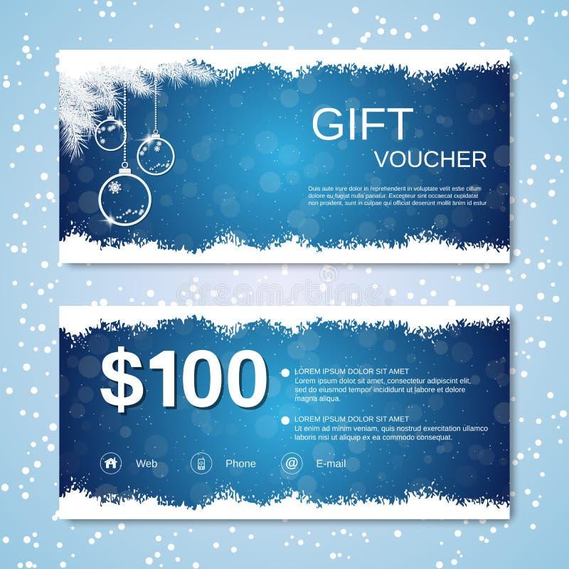 Weihnachten und neues Jahr rechnen Kupon, Geschenkgutscheinvektorschablone ab lizenzfreie abbildung