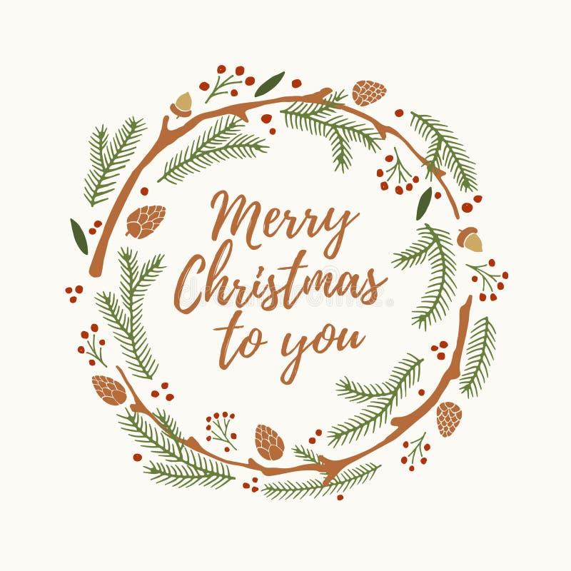 Weihnachten- und neues Jahr ` s winden aus Niederlassungen der Fichte, der Stöße und der roten Beeren mit Wörter frohen Weihnacht lizenzfreie abbildung