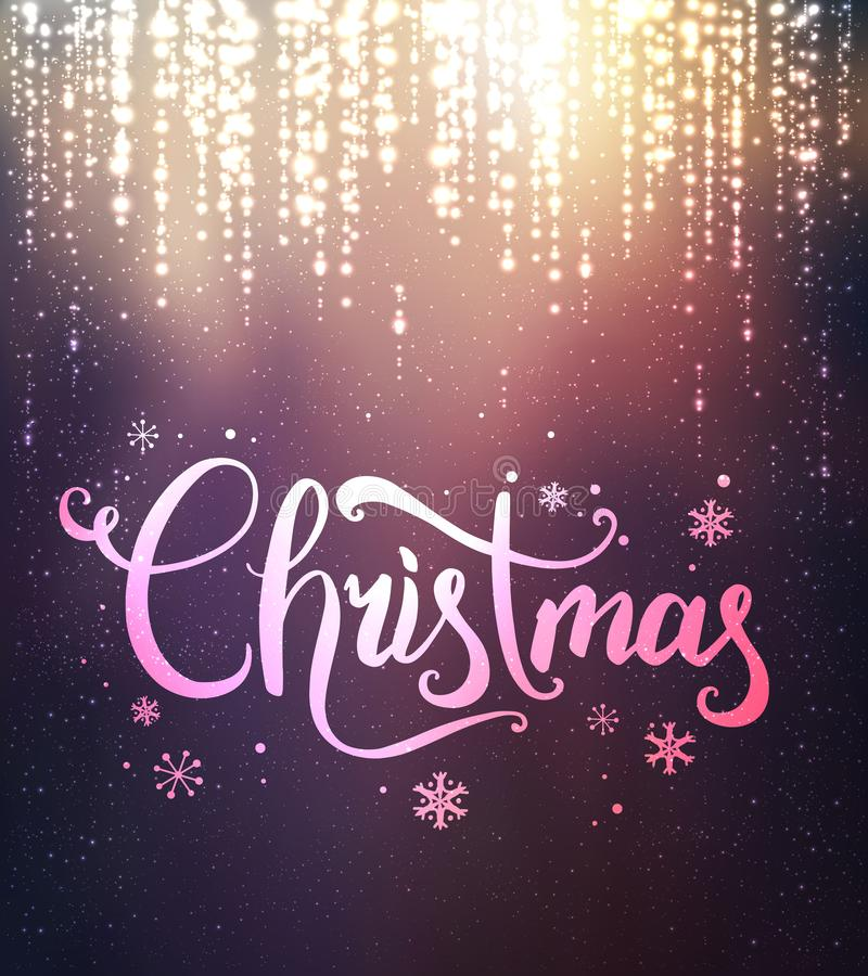 Weihnachten und neues Jahr typografisch auf Hintergrund mit dem Funken, Licht, Sterne Glühende FunkelnLichteffekte Abbildung inne lizenzfreie abbildung