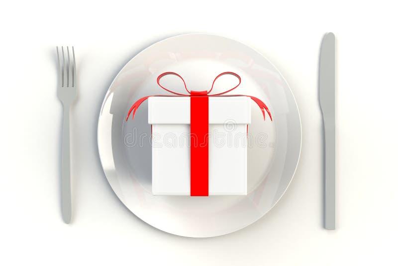 Weihnachten und Neujahrstag, Geschenkbox mit rotem Band auf Platte, Messer und Gabel auf weißem Tabellenhintergrund lizenzfreie abbildung