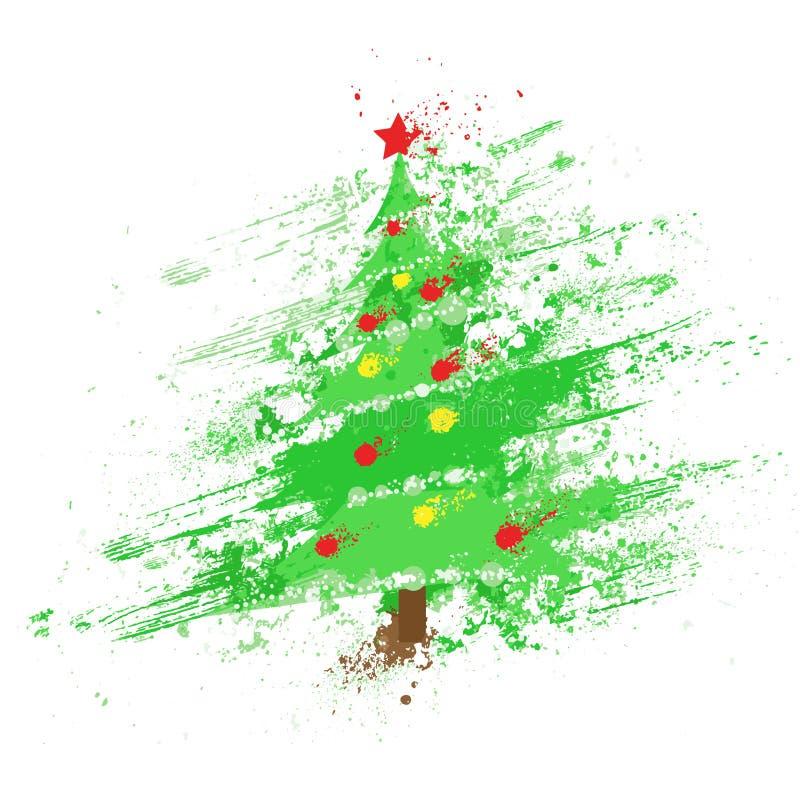 Weihnachten verzierte Baumzusammenfassungstinten-Spritzenfarbe vektor abbildung