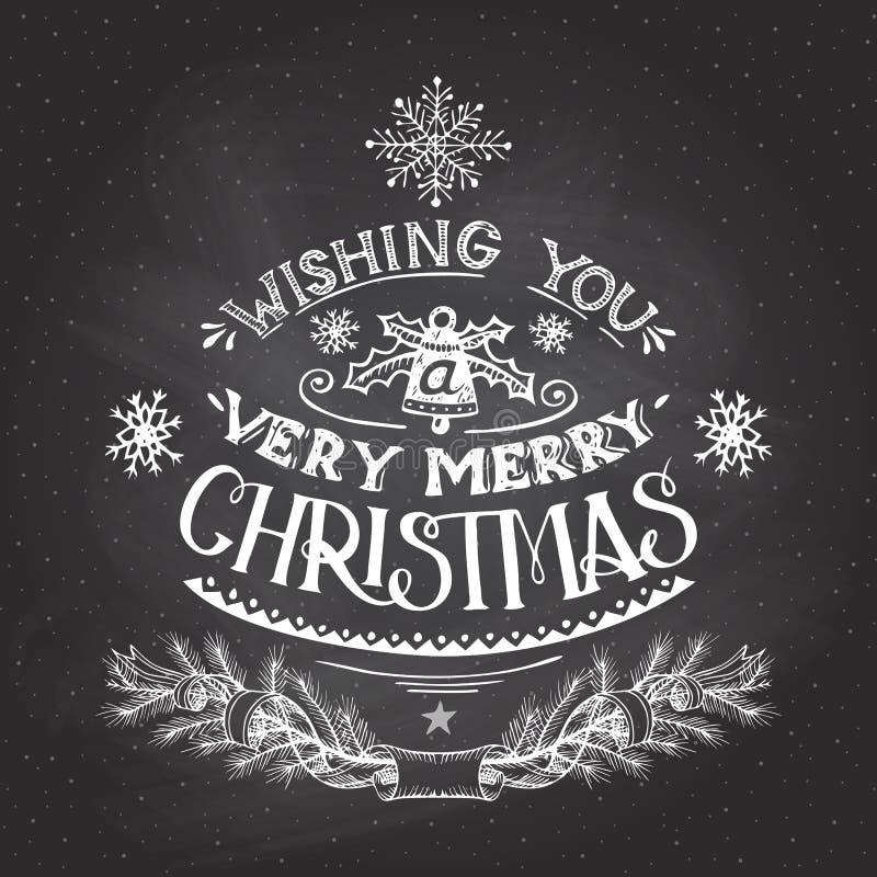 Weihnachten wünscht Handbeschriftung mit Kreide stock abbildung