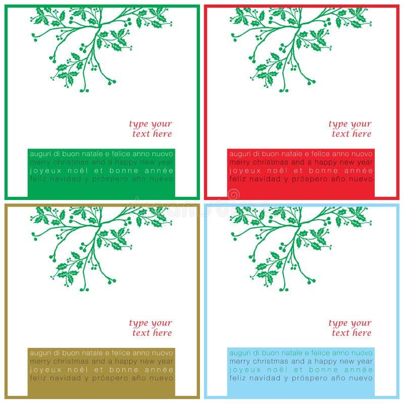 Weihnachten wünscht quadratische Karten vektor abbildung