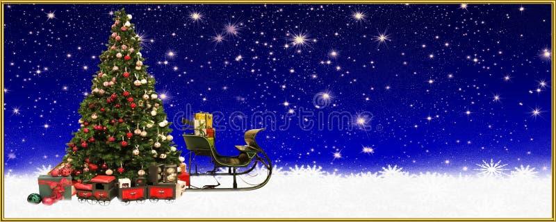 Weihnachten: Weihnachtsbaum und Sankt-` s Pferdeschlitten, Fahne, Hintergrund vektor abbildung