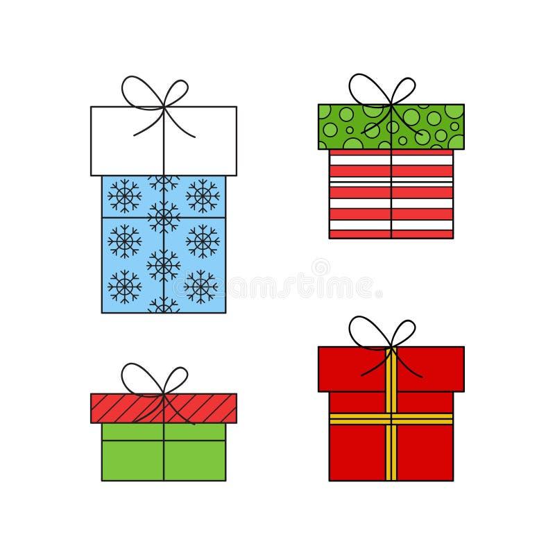 Weihnachten wickelte Geschenke ein, die Vektor Ikonen umriß stock abbildung