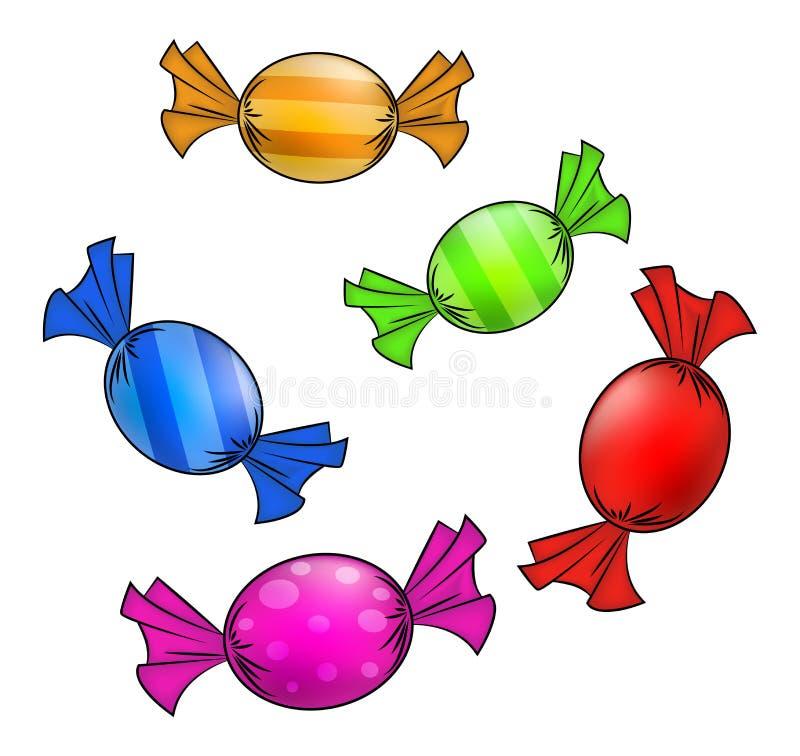 Weihnachten wickelte Süßigkeitssatz ein Bunter verpackter Bonbon, gute Sachen in einem Blatt Papier Vektorillustration lokalisier vektor abbildung