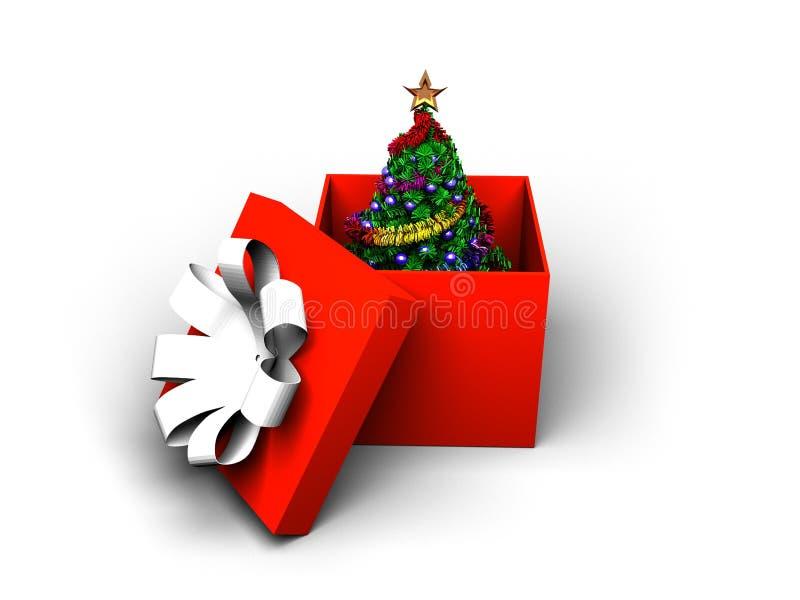 Weihnachtenc$pelzbaum in einem Kasten lizenzfreie stockbilder