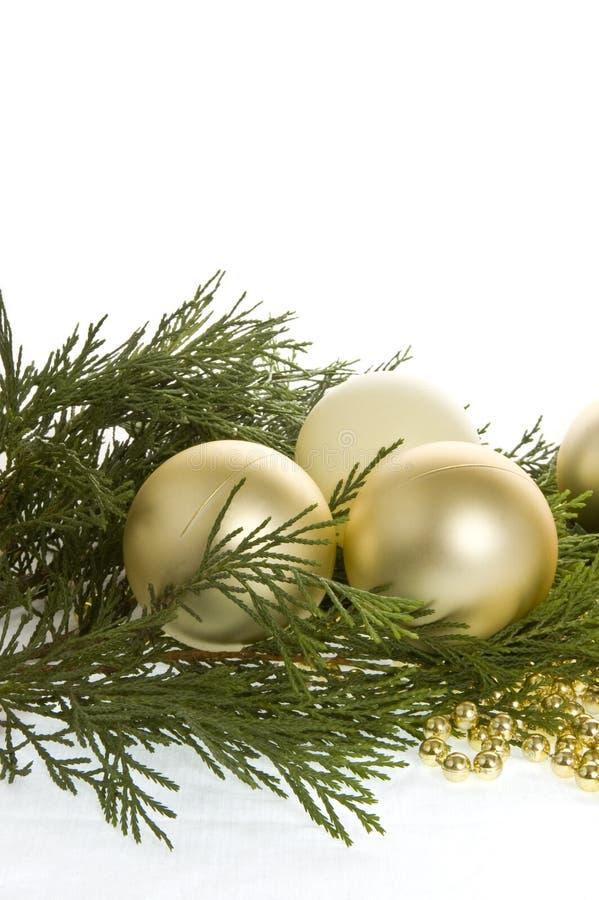 Weihnachtenflitter und evergree stockfotografie