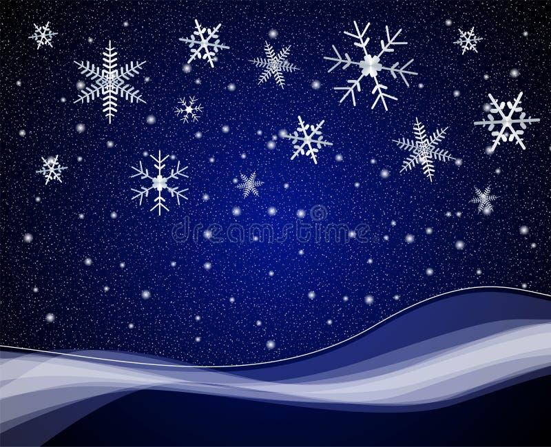 Weihnachtennightime Schneefälle vektor abbildung