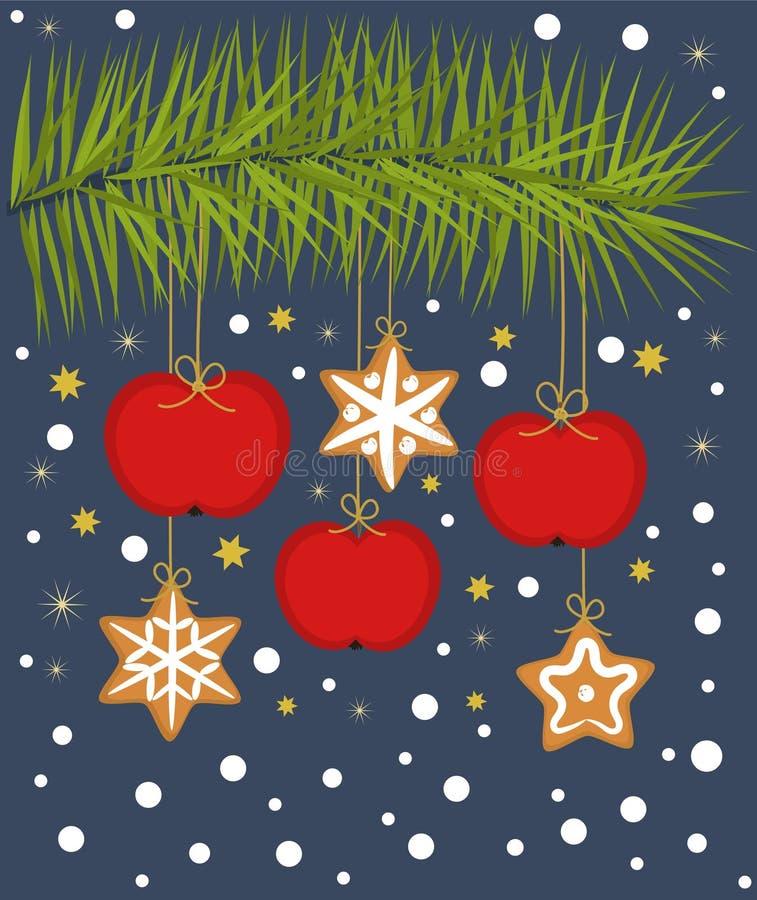Weihnachtsäpfel und -plätzchen stock abbildung