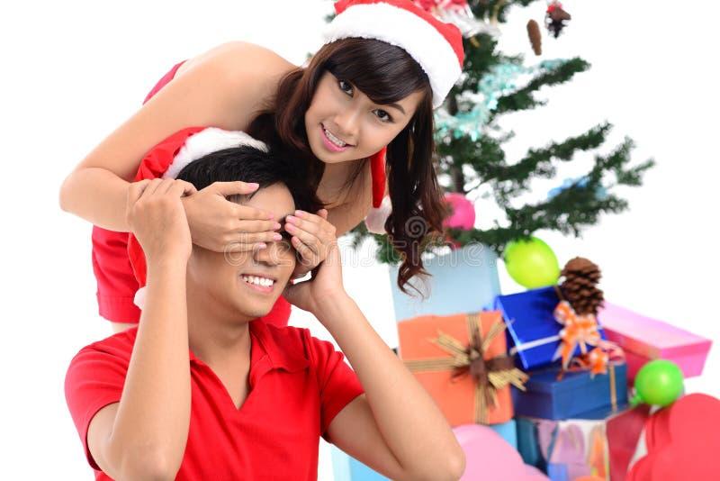 Weihnachtsüberraschung stockbilder