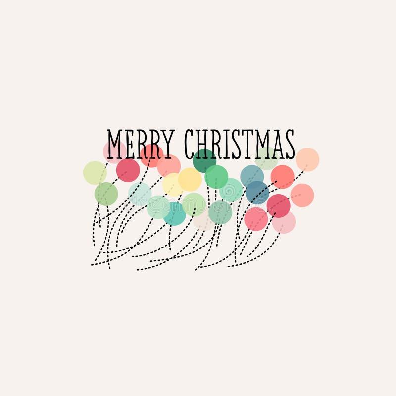 Weihnachts-Karte mit Pastell-pom poms und Beschriftung der frohen Weihnachten stock abbildung