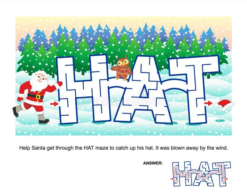 Weihnachts- oder des neuen Jahreslabyrinthspiel für Kinder lizenzfreie abbildung