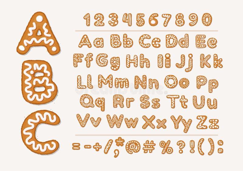 Weihnachts- oder des neuen Jahreslebkuchenplätzchenalphabet mit arabischen Zahlen und Zeichen Stellen Sie von lokalisiertem Alpha stock abbildung