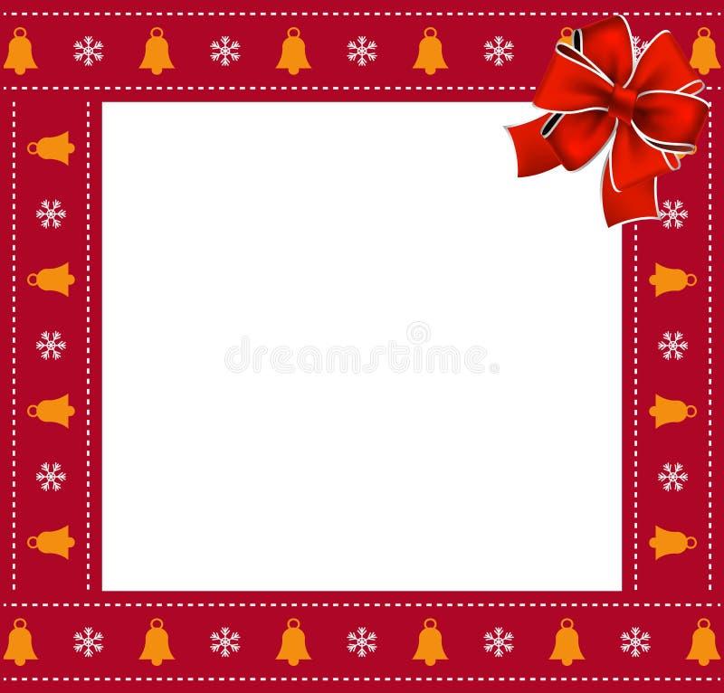 Weihnachts- oder Quadratgrenzrahmen des neuen Jahres mit Glocken und Schneeflockenmuster und rotem Bogen stock abbildung