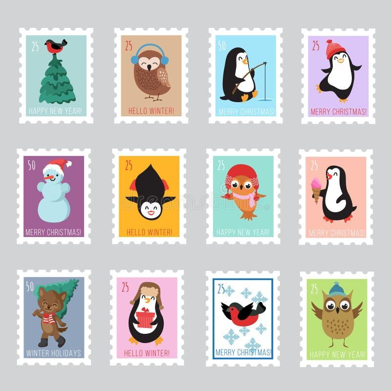 Weihnachts-Sankt-Briefmarken für Grußkarte Karikatur polar mit Herzen lizenzfreie abbildung