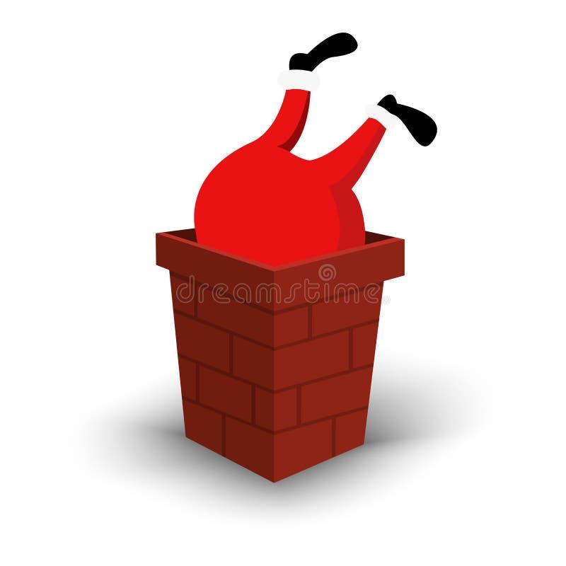 Weihnachts-Santa Claus-Charakter umgedreht im Kamin Karikaturmann im festlichen Kostüm Santa Claus Vektorweihnachten lizenzfreie abbildung