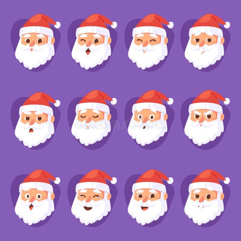 Weihnachts-Santa Claus-Kopfgefühlgesichtsvektor-Ausdruckcharakter wirft Illustration emojji Weihnachtsmann im Rot auf lizenzfreie abbildung