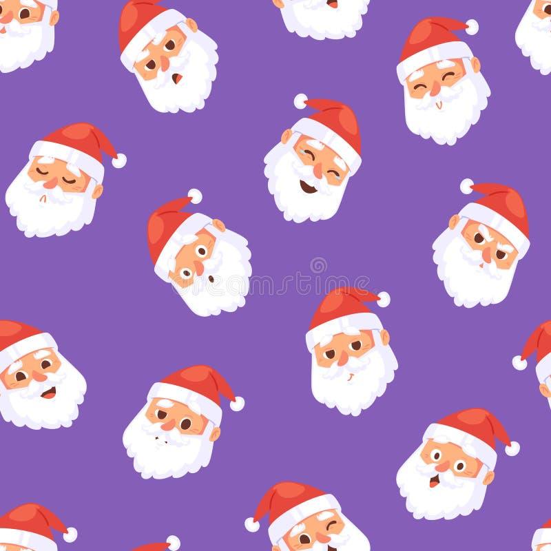 Weihnachts-Santa Claus-Kopfgefühlgesichtsvektor-Ausdruckcharakter wirft rotes traditionelles Illustration emojji Weihnachtsmannes stock abbildung