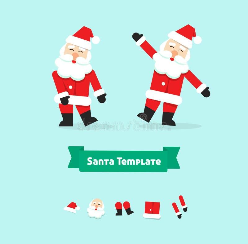 Weihnachts-Santa Claus-Sammlungspapierartvektor-Illustrationssymbol, guten Rutsch ins Neue Jahr-Vater, Ikone lokalisiert auf Weiß lizenzfreie abbildung