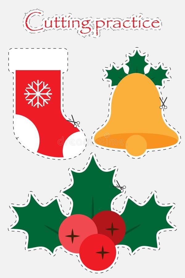 Weihnachts-Stiefel, -glocke und -mistelzweig in der Karikaturart, Weihnachten, das Praxis, Ausbildungsspiel für die Entwicklung v lizenzfreie abbildung