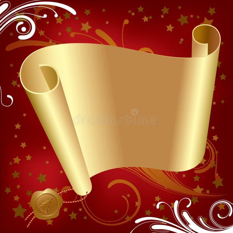 Weihnachts- u. der Neu-Jahregoldpergament stock abbildung