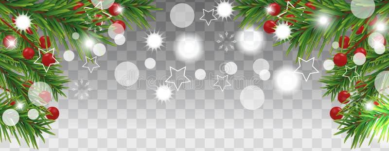 Weihnachts- und des guten Rutsch ins Neue Jahrhelle Fahne mit Weihnachtsbaumasten und Stechpalmenbeeren auf transparentem Hinterg vektor abbildung