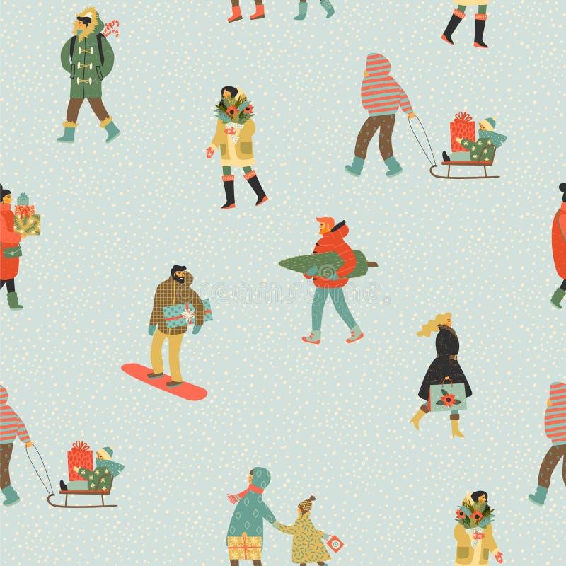 Weihnachts- und des guten Rutsch ins Neue Jahrnahtlose Muster Whitleute Modischer Retrostil lizenzfreie abbildung