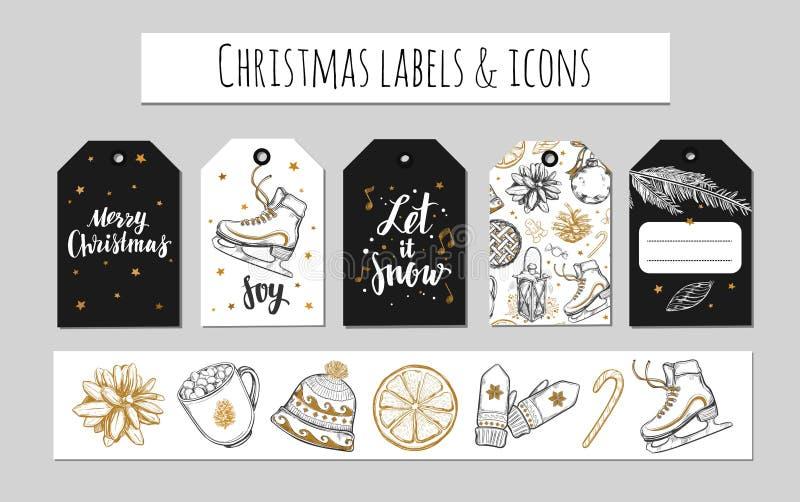 Weihnachts- und des neuen Jahresaufkleber, Geschenktags und Ikonen E Gezeichnete Illustrationen des Vektors Hand und modernes Bru lizenzfreie abbildung