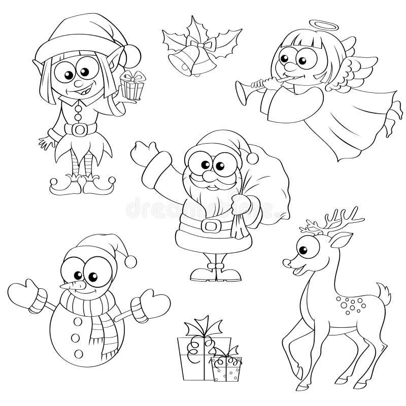 Weihnachts- und des neuen Jahrescharaktere Santa Claus, Schneemann, Elfe, Weihnachtsengel, Ren, Geschenke und Glocken vektor abbildung
