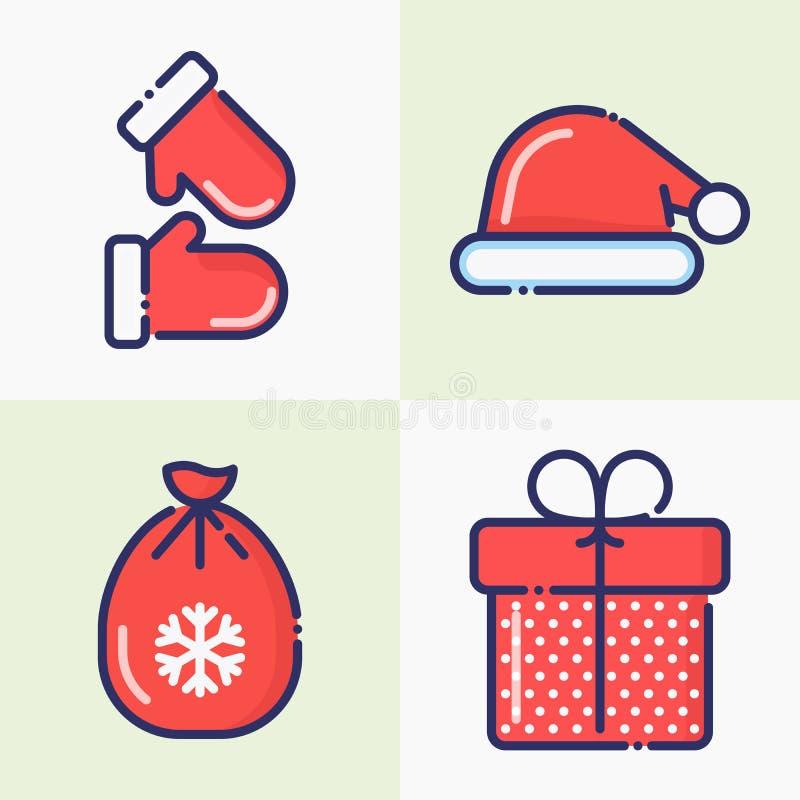 Weihnachts- und des neuen Jahresdünne Linie Dekoration lizenzfreie abbildung