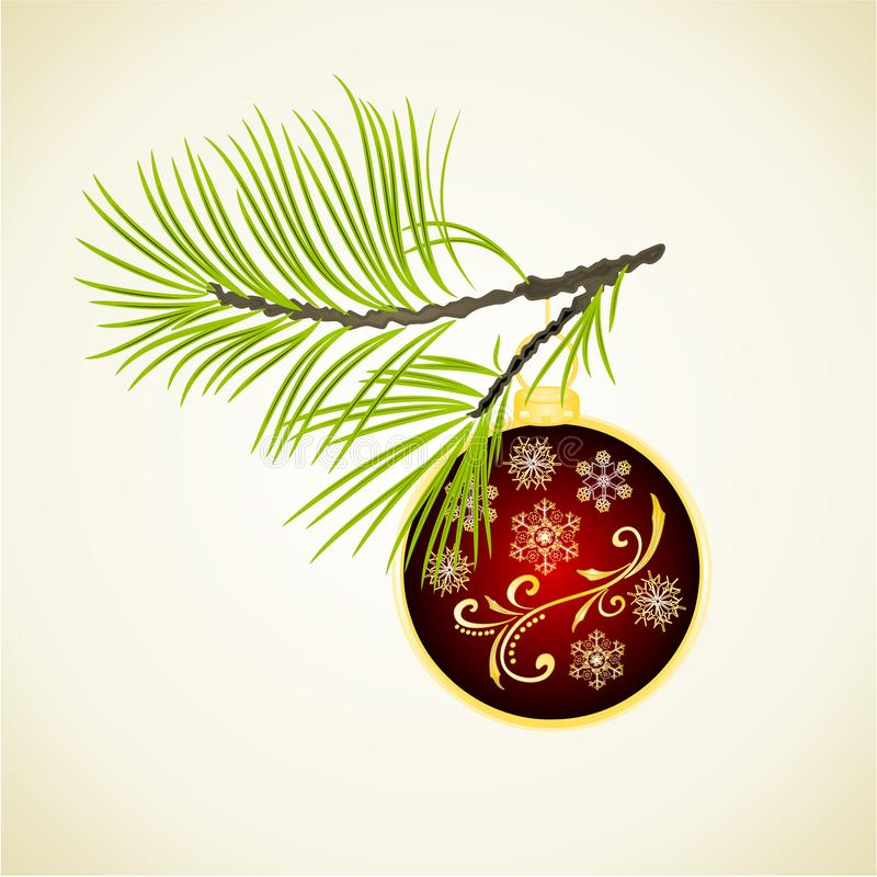 Weihnachts- und des neuen Jahresdekoration rote Weihnachtsverzierungen mit goldenen Schneeflocken vier und Tannenbaumastweinlesev stock abbildung