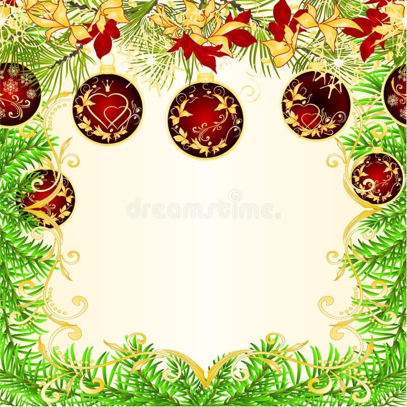 Weihnachts- und des neuen Jahresdekorationsrahmen rote Weihnachtsverzierungen golden und rote Poinsettiablätter und Tannenbaumast stock abbildung