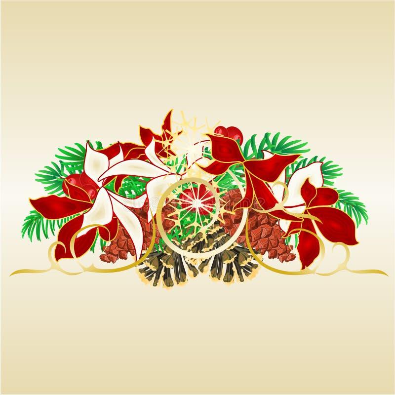 Weihnachts- und des neuen Jahresdekorative Fichtenzweige mit Kiefernkegeln mit weißem und rotem Poinsettiaweinlesevektor-Illustra lizenzfreie abbildung