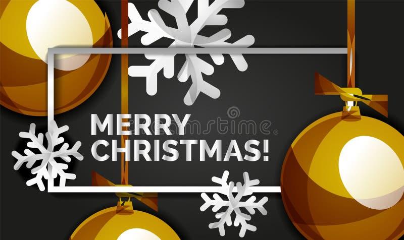 Weihnachts- und des neuen Jahresfahnenkarte, Weihnachtsbälle, schwarzer Hintergrund lizenzfreie abbildung