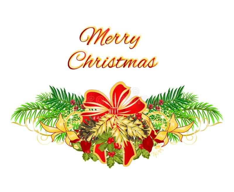 Weihnachts- und des neuen Jahresfestliche Poinsettiaeibe des dekorativen Weihnachtsbaum-Bogens und und Kiefernkegel Feiertagsbild lizenzfreie abbildung