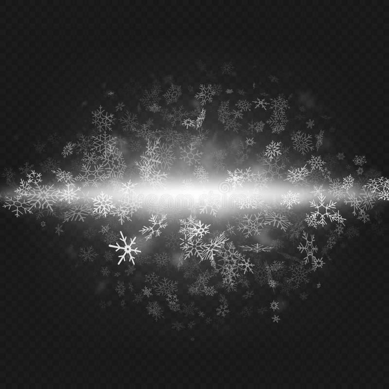 Weihnachts- und des neuen Jahresgegenstand für Parteieinladung Schnee-Blizzard-Effekt auf transparenten Hintergrund ENV 10 stock abbildung