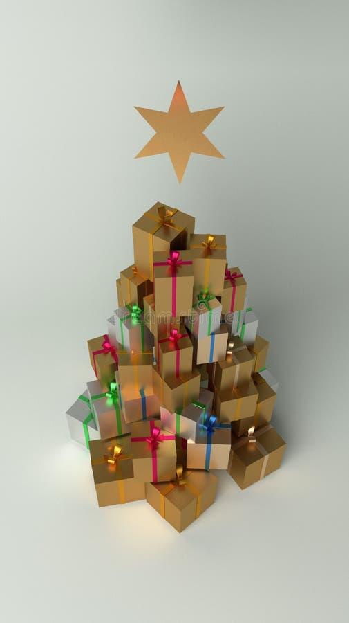 Weihnachts- und des neuen Jahresgeschenke im Stapel mit der Form des Weihnachtsbaums stock abbildung